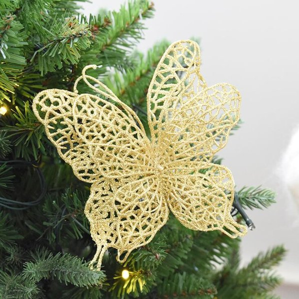 Hanging Christmas Decorations Outside.15cm Silver Butterfly Christmas Decoration Pendants Outside Christmas Tree Hanging Ornaments Hollow Hanging Butterfly Home Deocr Cheap Christmas