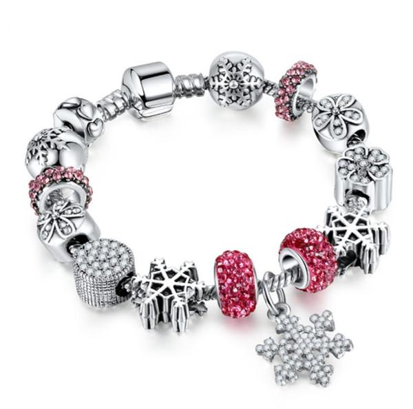 925 Sterling Silver snowflake pendant Snake Chain Bracelet Brand logo European Beads Charms designer bracelets for women