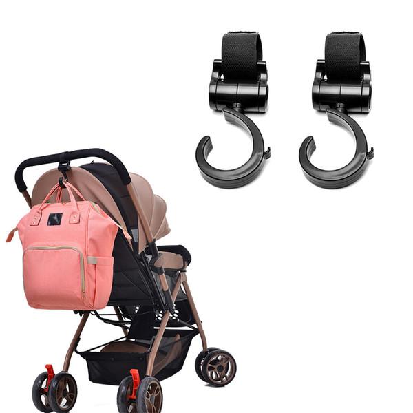 best selling 2 PCS LOT Baby Stroller Hook Multifunction Baby Stroller Black Plastic Diaper Bag Hanging Accessories Pram Rotate 360 Cart Hook