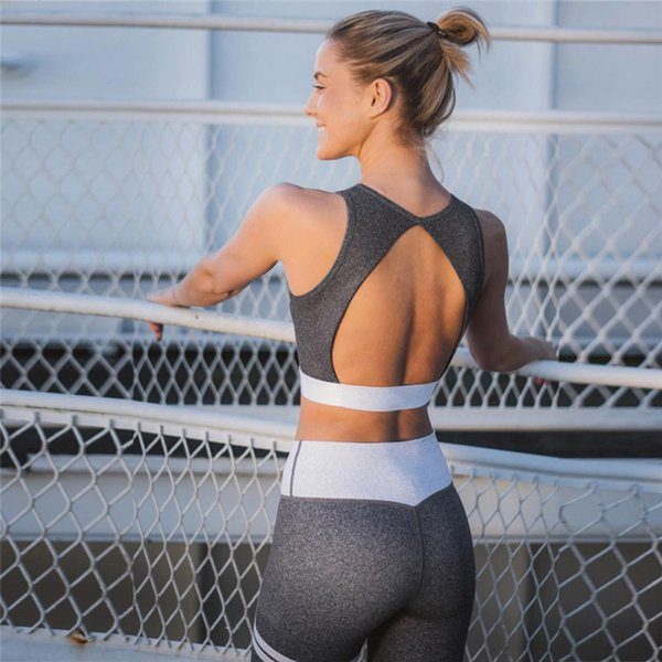2018 Slim Female Yoga Sets Exercise Gym Workout Clothes Running Fitness Sexy Backless Women Sport Wear Suit Jogging 2pc Set