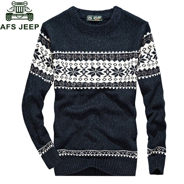 Afs 2018 Autumn New Mens Sweaters Fashion Casual Print O-neck Long Sleeve Warm Knitted Wear Men M-3XL Slim Fit Pullovers