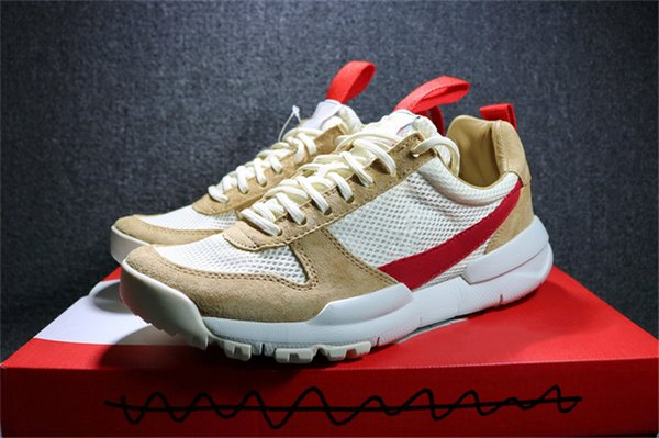 Authentic Tom Sachs Craft Mars Yard 2.0 Space Camp Running Shoes For Men AA2261-100 Natural Sport Red Maple Sneakers 2018 Hot Sale