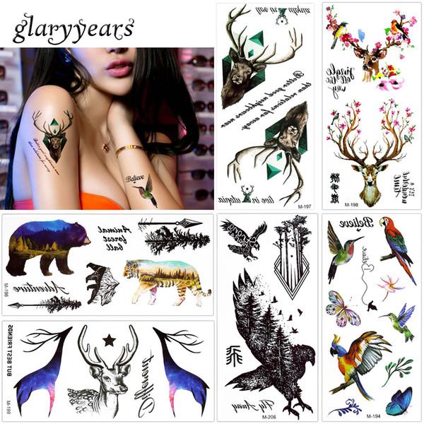 glaryyears 1 Foglio Falso Nero Animale Tatuaggio Temporaneo Adesivo Corpo Mano Trucco Moda Art Tattoo Tiger Eagle Gufo Decal 2018 Nuovo