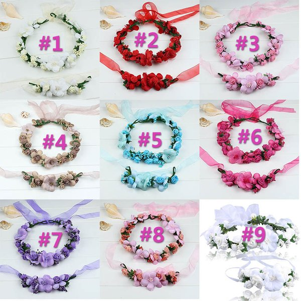 9Set/lot Headbands Accessories Headpieces Boho Wedding Tiara + Floral Wrist Flower Girl Garland Headwear Crown Flowers Hair Wreath