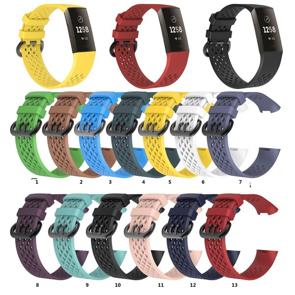 Hole Pattern Breathable Silicone Watch Band Wrist Strap Replacement Wristband for Fitbit charge3 charge 3 100pcs/lot 13 color