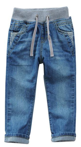 Toddler Kid Boy Elastic Mid Waist Washed Full Length Straight Pants Denim Jeans