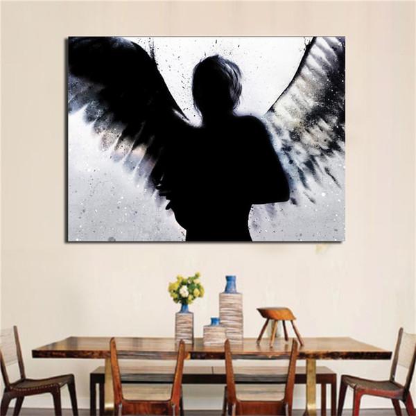 Compre Pintura Al Óleo Hd Print, Silueta Oscura Del Ángel ...