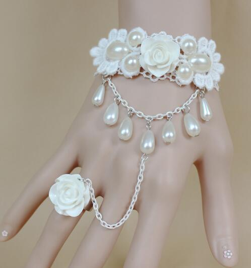 Hot style Bride Korean version of female wedding dress accessories princess girl white rose pearl lace bracelet band ring fashion classic el