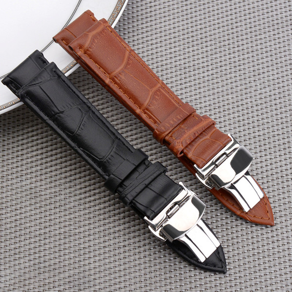fashion slub embossed Watch Band Strap Push Button Hidden Clasp Double press butterfly buckle Leather black Brown Steel clasp 12mm~24mm