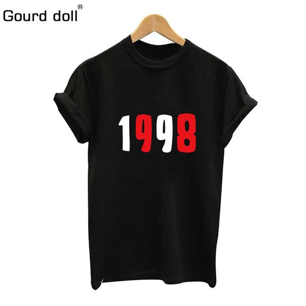 1998 Short-sleeved Women's Top Digital Clothing Cotton Print Women's T-shirt Casual Shirt Round Neck T-shirt Fashionable