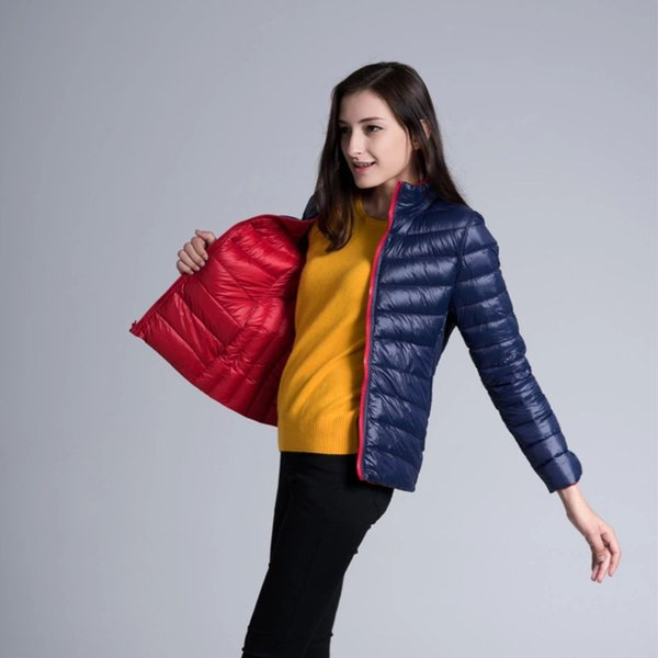 Winter Womens Two Side White Duck Down Jacket Warm Winter Coats Parkas Lightweight Down Jackets Casual Parkas S18101306