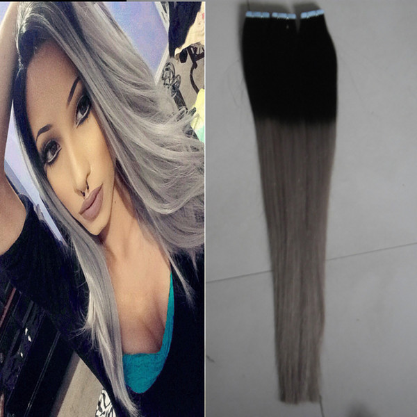 Apply Tape Adhesive Skin Weft Hair T1B/grey ombre human hair Straight 100g 40pcs tape in human hair extensions