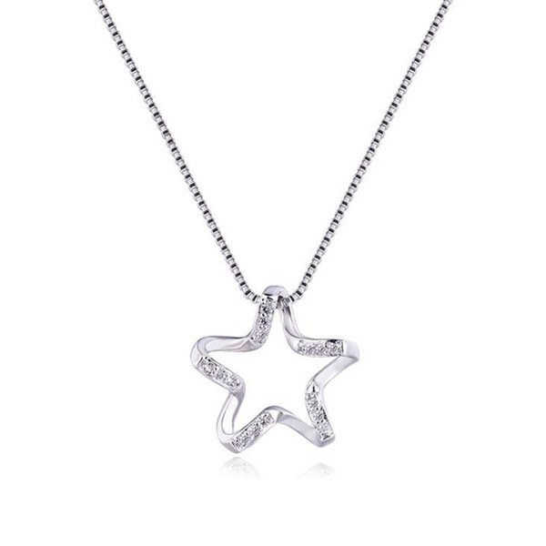 2018 New 925 Sterling Silver Necklace Pentacle Star Necklace Female Clavicle Chain Japan and South Korea Hollow Wild Trend Presents