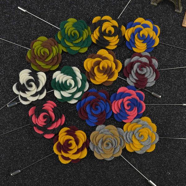 Bijoux coréens Bijoux Laine À La Main Tissu Broche Costume Clip Couleur Collier Fleur Épinglette Cadeaux De Noël pour Hommes Broches Broches