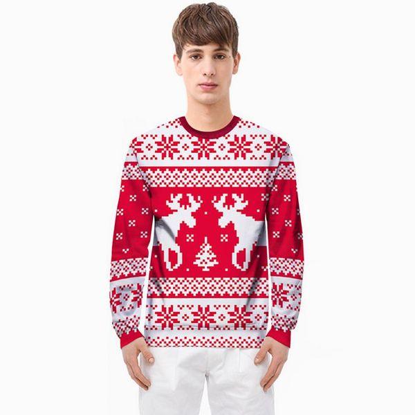Mens De Noël 3D Print Sweatshirts Homme Automne Crew Neck Sweatshirts Red Deer Imprimer Pull Livraison Gratuite