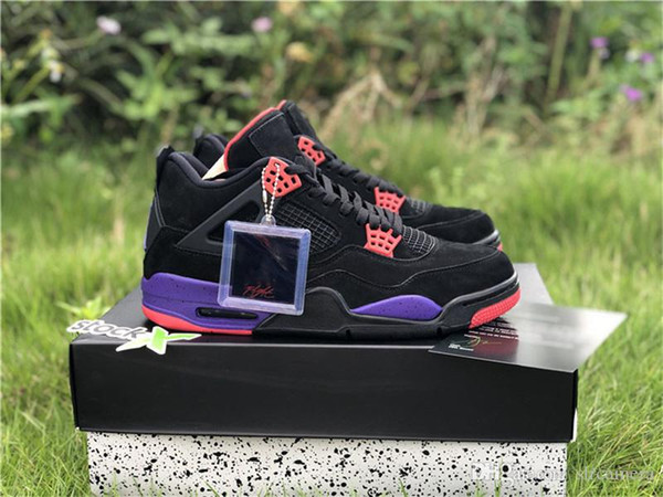 detailed look 6906a 40082 AirJordan4 Raptor Retro 0 4 Black AQ3816-065 NRG Drake Court Purple Black  Toronto Raptors Purple Basketball Shoes Sneakers With Original Box