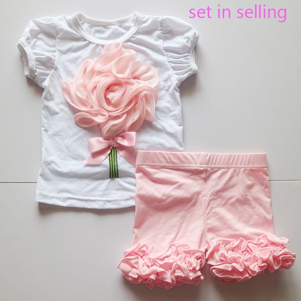 Hand Made Gift Custom Made Outfit Toddler Girls Suit Set Summer O-Neck White Shirt Girls Pink Icing Short Legging