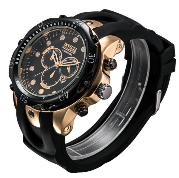 Nuevos Relojes para hombres Calendario de oro rosa Relojes de silicona para hombres Relojes grandes Invict Relojes de pulsera Alta calidad Venta al por mayor y al por menor