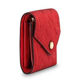 M64061 VICTORINE WALLET Embossing red Real Caviar Lambskin Chain Flap Bag LONG CHAIN WALLETS KEY CARD HOLDERS PURSE CLUTCHES EVENING