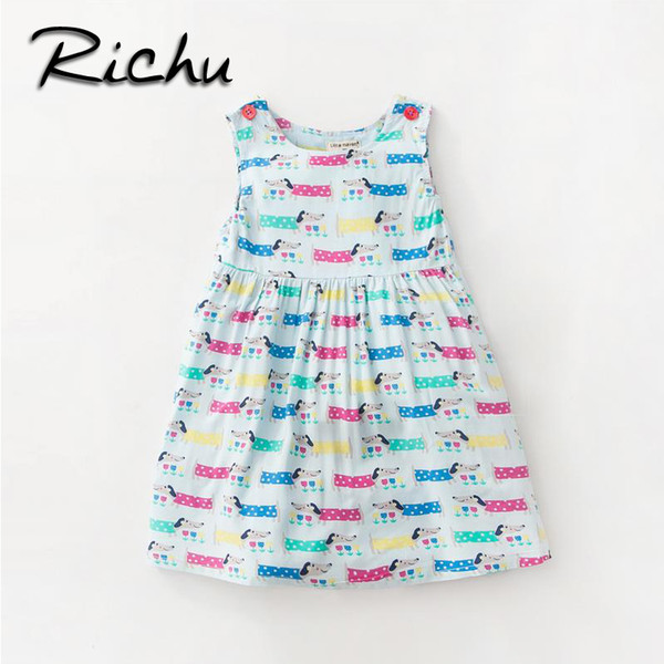 Richu baby clothes dress for girls short sleeve for summer beautiful children dresses christmas costumes for kids animals spring
