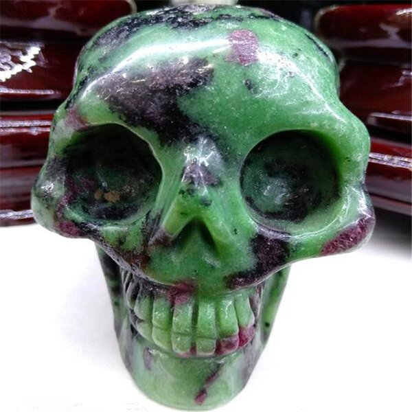 Large-sized Skull and Head Gem Carving Handicraft Natural Crystal Skull Ornament Collection Home Decoration Gift