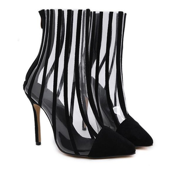 Women Black Patchwork Transparent PVC Pointed Toe Ankle Boots High Heel Motorcycle Short botas mujer Big Size 35-40