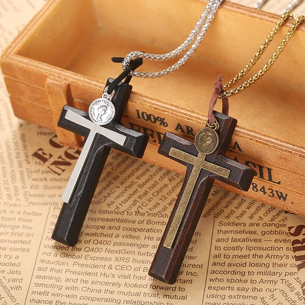 Hot Sale Stylish Handmade Vintage Double Layer Wooden Cross Pendant Necklace Women's Sweater Chain Jewelry Factory Price Xmas Gifts