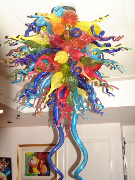 Moda de Murano Diseño Lámparas tradicionales Iluminación 110 220 v AC Bombillas Led Multi color Villa Decoración Art Lámpara de techo