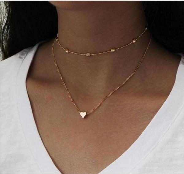 Collar de moda de dos capas Gargantilla de cadena con cadena O a través de corazón Plateado y chapado en oro