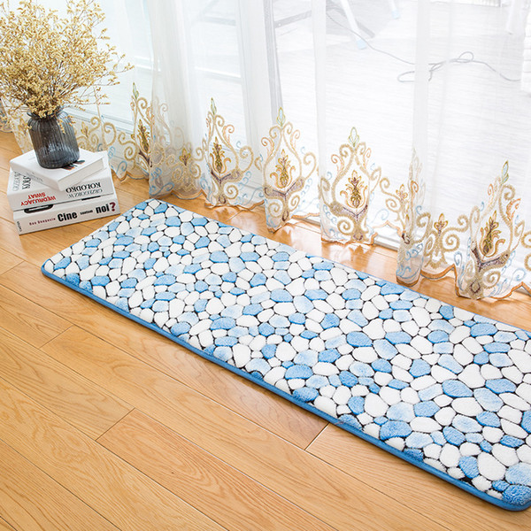 3D Cobblestone Floral Printed Anti-slip Kitchen Mats Bedroom Long Floor Mat Soft Bedside Footcloth Hallway Balcony Carpet