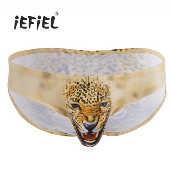 iEFiEL Sexy Lingerie Homme Loup / Léopard Imprimé Animal Poche Résistance Bikini Slip Sous-Vêtements Caleçon Jockstraps Culotte