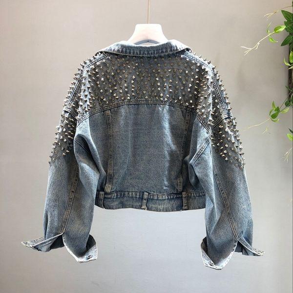 tutucloth / Jaquetas das mulheres Casacos com Rebite Denim Jean Tops Europeu 2018 Outono Nova Prego Feminino Jeans Lavar Jaqueta Curta Menina Moda
