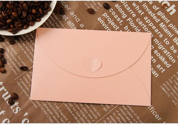 50PCS/LOT 175*110mm Pink Vintage Love Heart Buckle small colored Pearl blank mini paper envelopes wedding invitation envelope