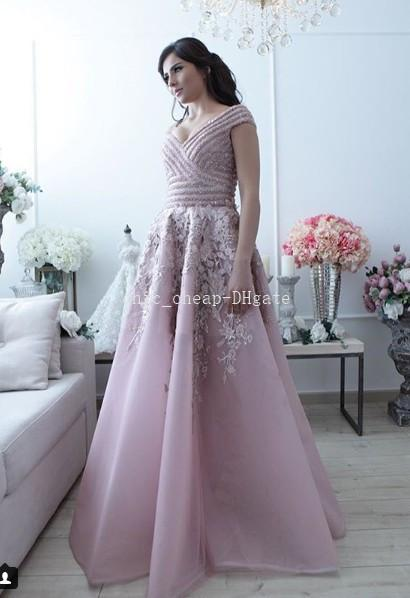 Pink Lace Beaded Luxurious 2018 Evening Dresses Sexy Portrait A-line Tulle Prom Dresses Noble Fashion Bridesmaid Formal Party Gowns