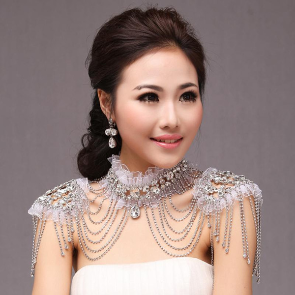 Bling Bling 2019 Bridal Shoulder Chain High Neck Jewelry Rhinestone Beading Crystal Lace Appliques Necklace Wedding Accessories