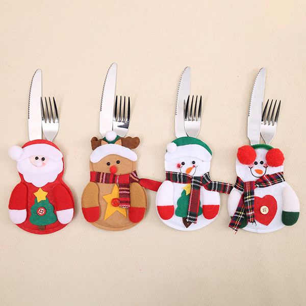 Kitchen Cutlery Snowman Santa Claus Elk Cutlery Suit Holders Pockets Knifes Forks Tableware Bags Christmas Dinner Table Home Decor drop ship