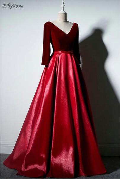 Borgonha Ocasião Especial Vestidos para Festa de Casamento de Veludo De Cetim Manga Comprida Mãe dos Vestidos de Noiva vestido de festa longo