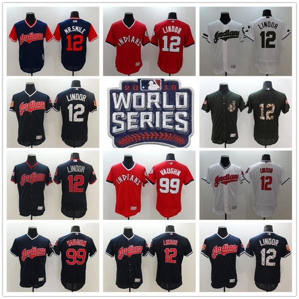 super popular 2fb30 8b90b 2019 2018 World Series Patch Francisco Lindor Jersey 12# Indians Jerseys  Jason Kipnis Michael Brantley Corey Kluber Edwin Enca Jerseys From Lauer,  ...