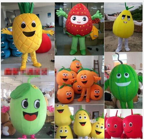 2018 traje de la mascota de la fruta calabaza de Apple limón traje de dibujos animados sandía adultos niños fiesta de disfraces elegir uno que le gusta