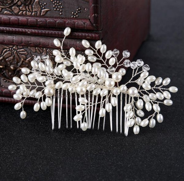 Pearl Crystal Hair Comb headwear high end silver copper wire pearl insertion hairpin accessories