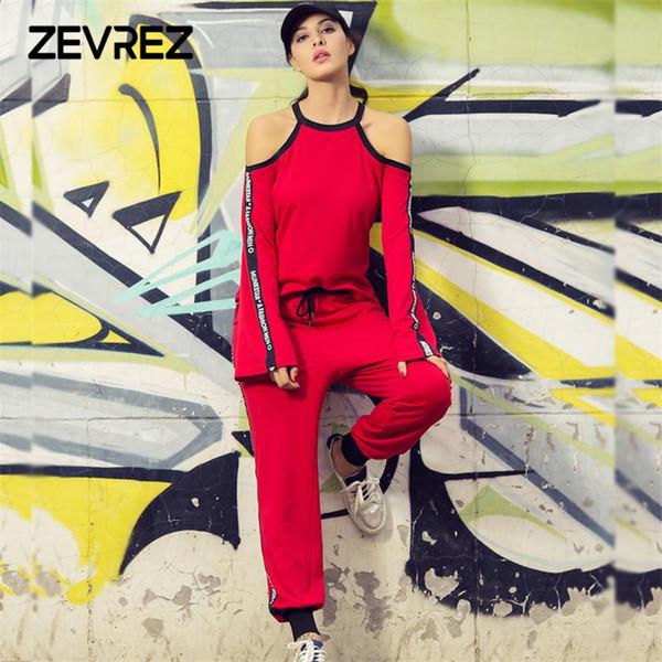2018 Sonbahar Kadın Iki Parçalı Pantolon Set Rahat Kırmızı Eşofman Kıyafetler Kapalı Omuz Pamuk T-Shirt + Elastik Bel Pantolon Eşofman