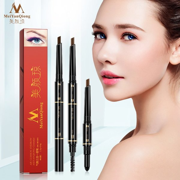 MeiYanQiong 3 In 1 Air Cushion Triad Eyebrow Pencil Waterproof Makeup Eye Brow Tint Tattoo Pen Long Lasting Eyebrows Make Up