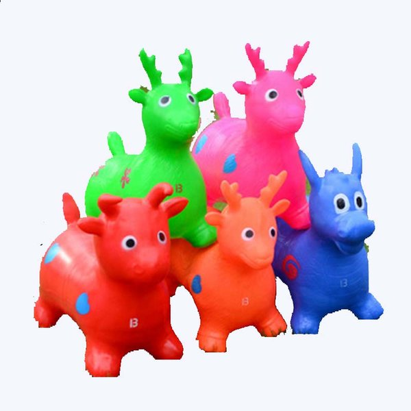2017 New Design Inflatable Animal Cartoon Mini Jumping Horse Toy Bouncing stress ball Deer Kid Health Care toy Children Hand