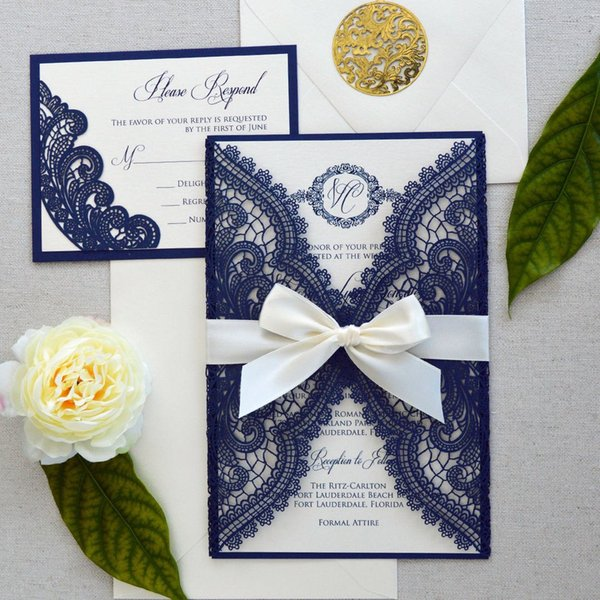 Luxury Navy Blue Laser Cut Wedding Invitations with Bow Elegant Lace Beach Bridal Shower Invitation Dinner Party Invites with Envelope