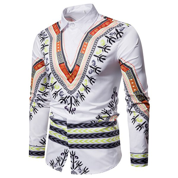 New designer spring autumn long sleeve casual men's shirts tops men printed dress shirt slim fit silk shirts M-3XL free shipping