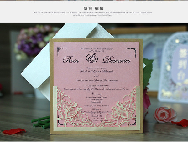Laser Cut Flower Wedding Invitation Cards Personalized Gold Hollow Wedding Party Printable Invitation Cards with Envelope Sealed Card