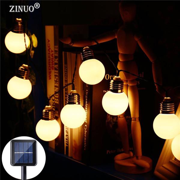 ZINUO 4 M 10 PZ Lampadina G50 Ad Energia Solare LED String Light Impermeabile Globe Ball Luci di Natale Fata Decorazione Ghirlanda di Capodanno