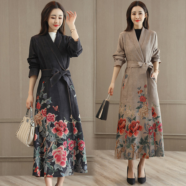 Fashion spring autumn Modern Korea style vestido vintage pattern gown Women V-neck long Casual elegant Dresses