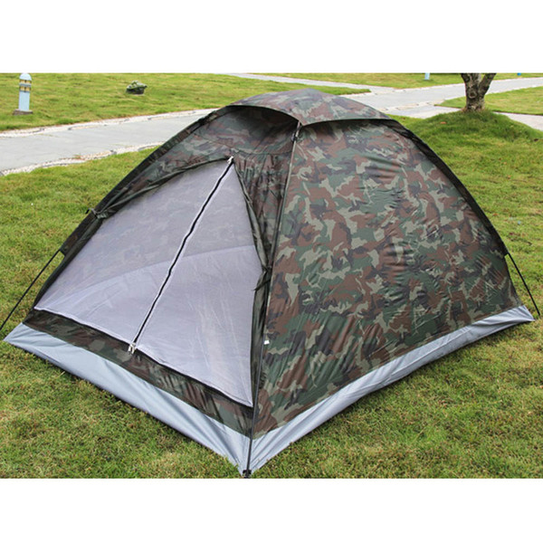 Outdoor Portable Beach Tent Camouflage Camping Tent For 2 Person Single Layer Polyester Fabric Tents Pu 1000Mm Carry Bag Travel