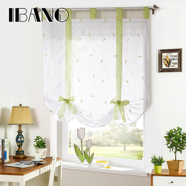 2019 Roman Shade European Embroidery Style Tie Up Window Curtain Kitchen  Curtain Voile Sheer Tab Top Window Brand Curtains Cortinas From Dalihua, ...